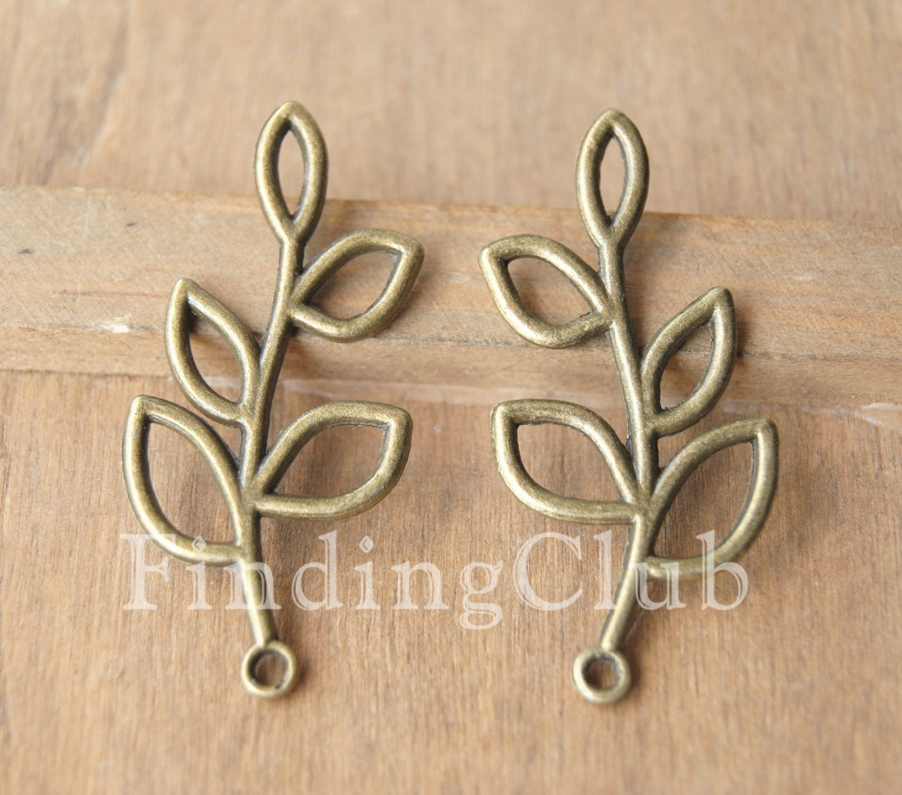 Free Shipping! 30 pcs Zinc alloy for DIY Antique Silver Bronze Metal Filigree Leaf Branch Charm 19x38mm A19/A131(China (Mainland))