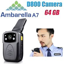 Free Shipping!Ambarella A7 (Not A2) 64GB Ture Full HD 1080P Police Body Lapel Worn Video Camera Recorder DVR IR Night Cam(China (Mainland))