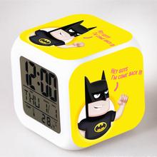 Batman Alarm Night Light Clock Lovely Popular Square LED Colorful Digital Electronic Clock America Anime Toys Small Gift #F