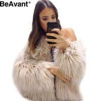 BeAvant Fluffy winter warm faux fur coat women Chic black female outerwear 2016 autumn elegant jacket coat hairy party overcoat