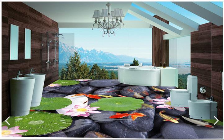 3d wallpaper custom 3d flooring painting wallpaper wall High-end lotus brocade carp to draw 3d floor living room photo wallpaper(China (Mainland))