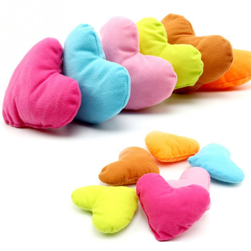 Colorful Cute Large Plush Pet Toys Cotton Heart Pillow Pet Toys For Large Dog Bite Resistant Soft Puppy Pet Toys For Dog Cat(China (Mainland))