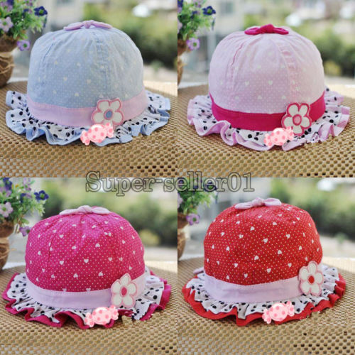Cute infant girls flower bold dot hearts cotton summer hats bernat 3-24month Hot(China (Mainland))