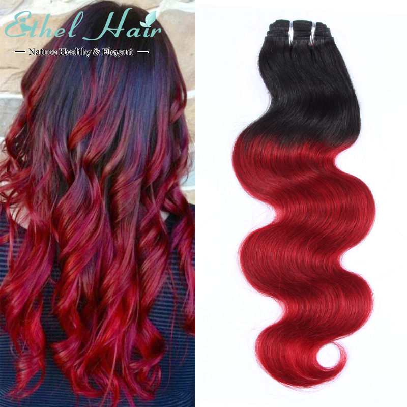 3 Bundles Brazilian Body Wave Ombre Burgundy  Body Wave Hair Extensions 7A Grade Virgin Human Hair Weave<br><br>Aliexpress