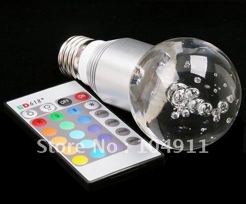 Energy Saving 3W RGB E27 Crystal Flash Led Ball Light Bulb Led Bulb Lamp With Remote Controller, AC 85V~265V Freeshipping(China (Mainland))