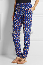 2015 Luxury Brand Designers Floral Blossom Silk Trousers Women's Floral Printed Cropped Pants Vintage Tapered Pants(China (Mainland))