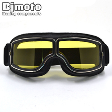 GT-011-BK-YE Yellow Lens NEW Harley Style Pilot Motorbike Goggles Motorcycle Leather Retro Jet Helmet Eyewear - Bijia Racing Parts store