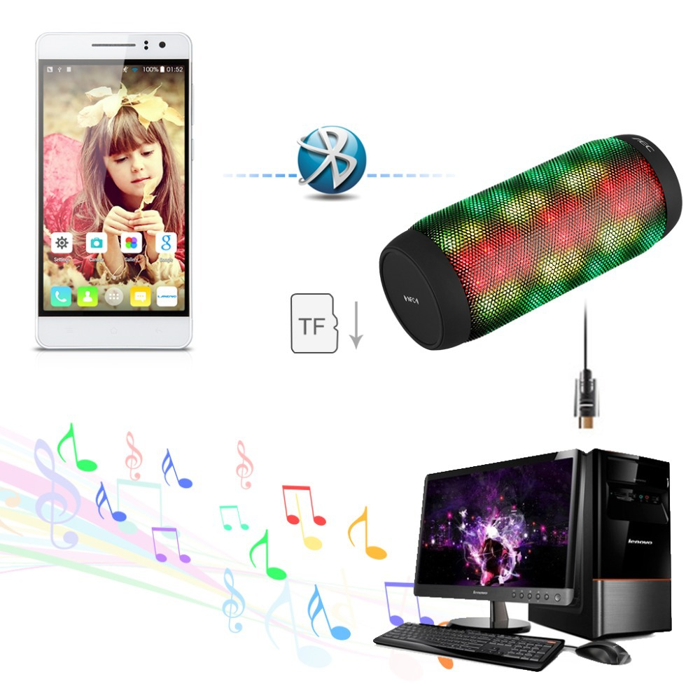 Mini LED Stereo Bluetooth 3.0 Speaker Support TF Card FM Radio Portable Speakers for Android IOS Phone / PC /Tabelet/PSP(China (Mainland))