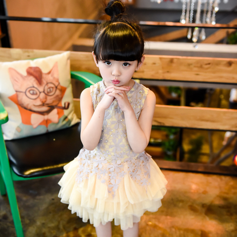 Girl Dress Kids Girls Wedding Dress Childrens Clothes China Girls Dresses Summer 2016 Girls Princess Lace Dress Fancy Elegant(China (Mainland))