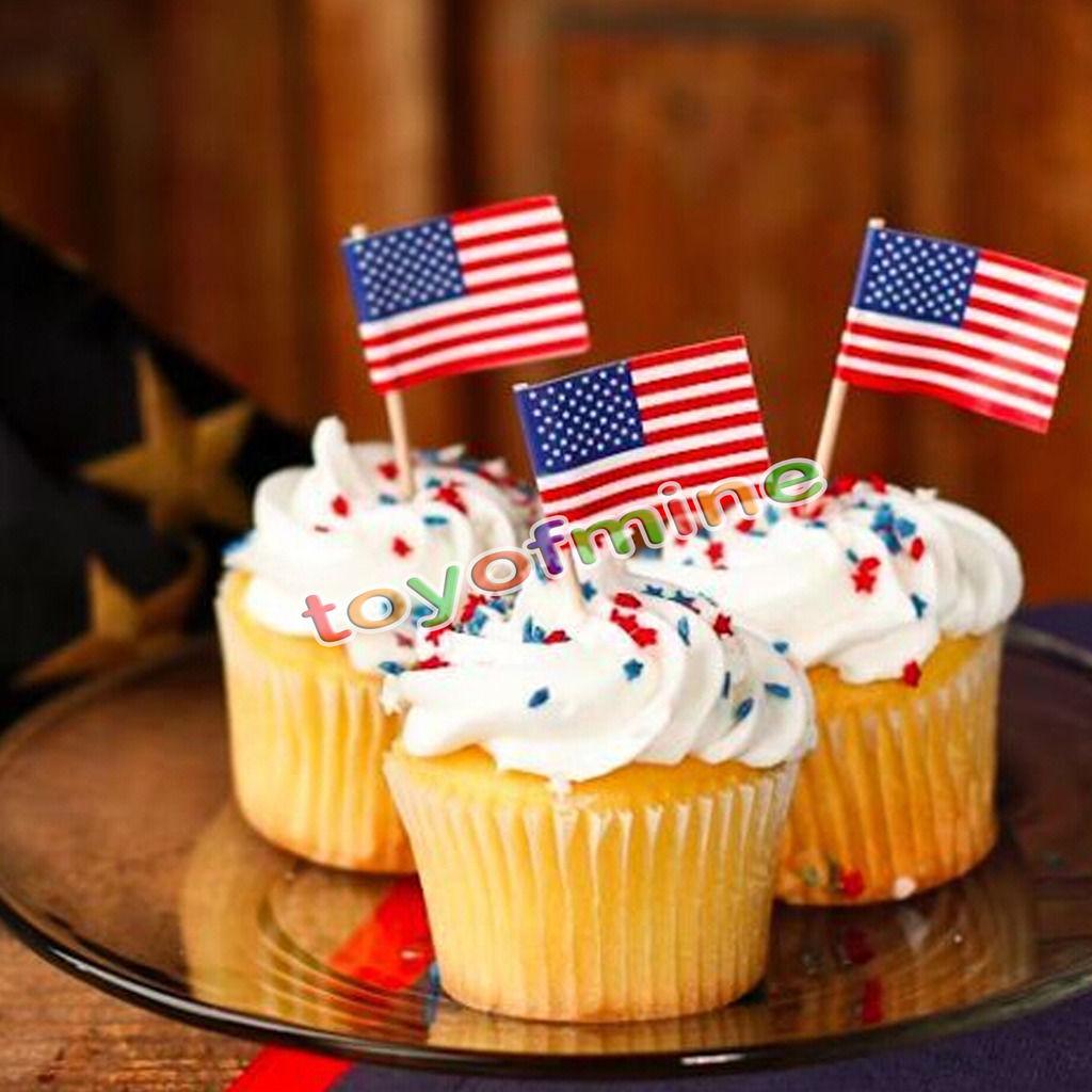 50 unids Party Cocktail EE. UU. Bandera Americana de Alimentos Cupcake Cake Decoration Selecciones Sticks(China (Mainland))