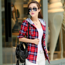 2015 NEW Winter New Plus Velvet Thick Warm Plaid Shirt Sleeved Women'S Plaid Blouse free shipping Even a hat Cap