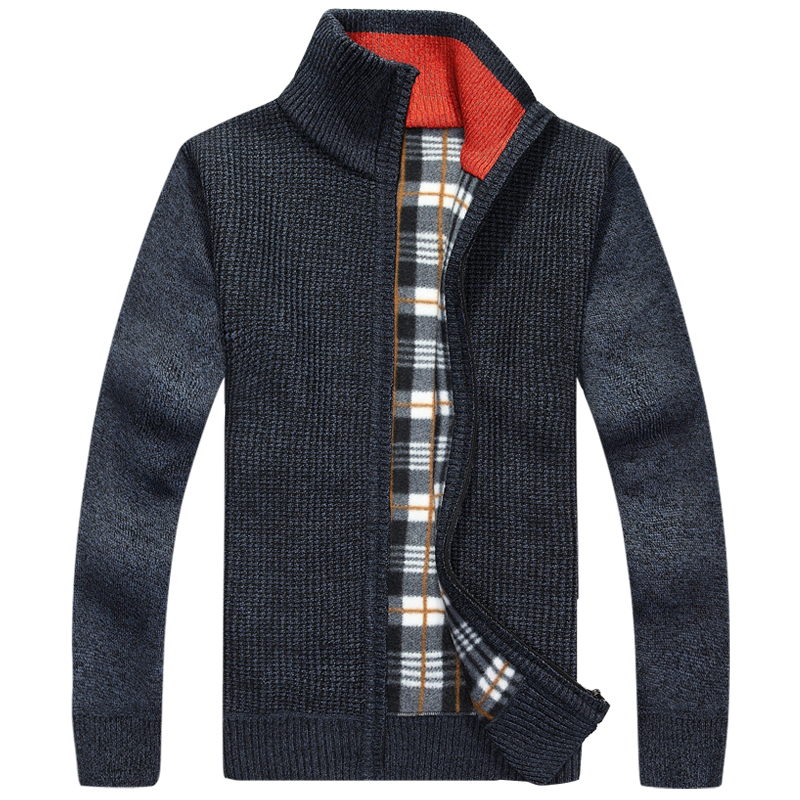 Warm Thick Velvet Cashmere Sweaters Men Winter Cardigan zipper Tops stand Collar Man Casual Clothes Pattern Knitwear Big size(China (Mainland))