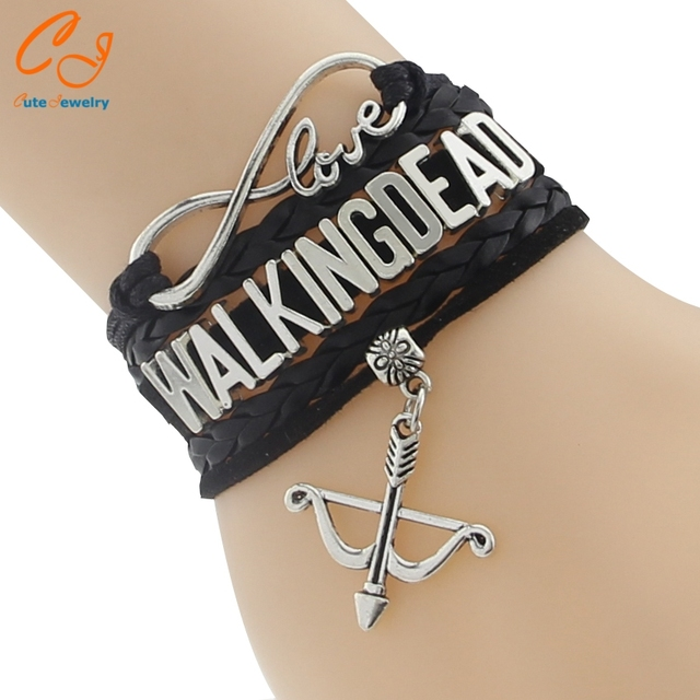 The Walking Dead Bracelet – Multi-Color Leather Braided Velvet Bracelet With Bow Charm