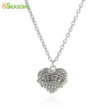 """8SEASONS New Necklace Link Cable Chain Silver Tone """" SISTER Carved Heart Pendant Clear Rhinestone 52cm(20 4/8 inch), 1 PC 2016 new - 8Seasons Jewelry store"""
