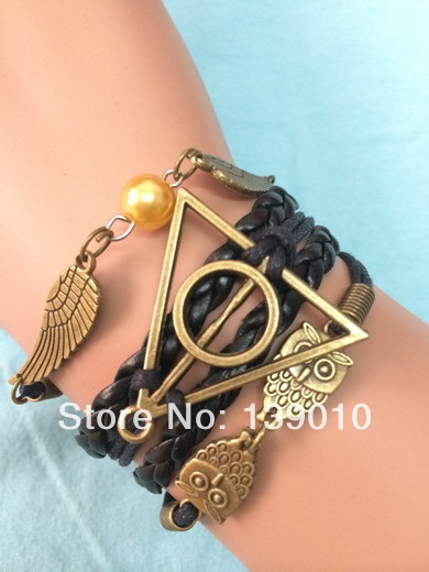 Free Shipping!3PCS/LOT!Woven Black Leather Wax Cord Retro Owl Harry Potter Wing Bead Charm Bracelet Fashion Men Jewelry U-364(China (Mainland))