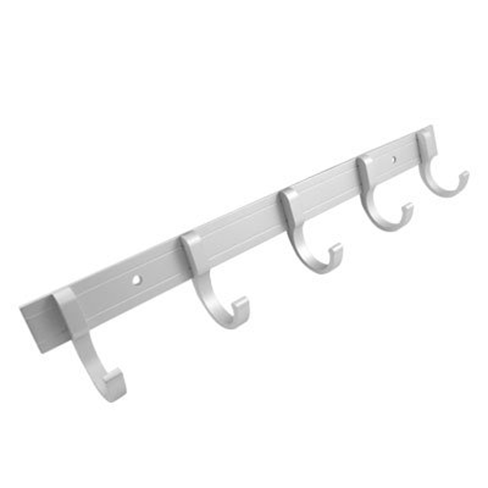 Aluminium Alloy Wall Mounted 5 Hooks Coat Towel Hat Rack Silver Tone Fast Shipping(China (Mainland))