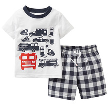 Summer Boys Clothes 2016 New Baby Boy Clothing Set Pattern Car Toddler Boys Clothing Plaid Kids Clothes Children Clothing Set