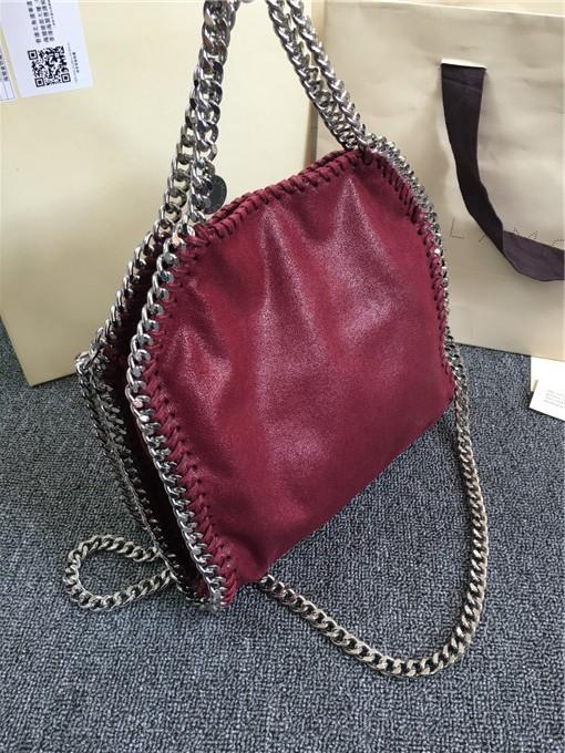 2016 famous celebrity high quality fashion pvc designer handbag burgundy 3 chains crossbody fold over tote shoulder bag logo(China (Mainland))