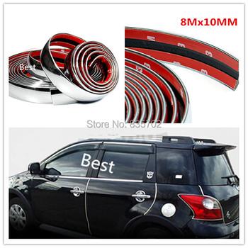 8mx10mm Free Shipping DIY Chrome Car Interior Exterior Decoration Moulding Trim Strip Line Body Bumper Door Rim Protect Cover