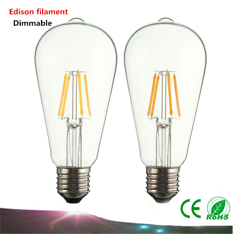 Dimmable E27 Edison filament bulb ST64 2W 4W 6W 8W AC85-265V retro glass bulbs to replace incandescent bulbs(China (Mainland))
