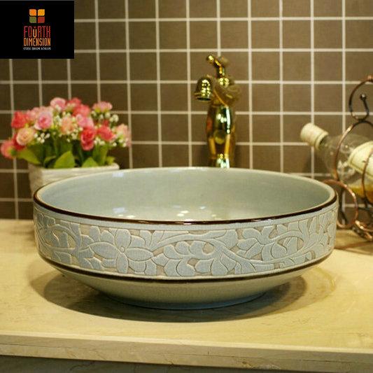 2 kleuren porselein crackle stijl gravure ronde keramische wastafel badkamer wastafel in kopen - Wastafel originele ...