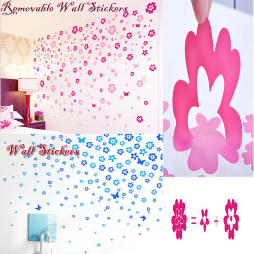 Removable 124 Flowers Butterfly Bedroom PVC Wall Sticker Decals Vinyl Art Mural(China (Mainland))