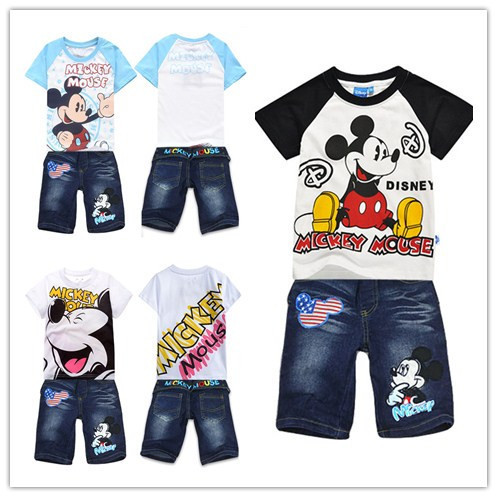Free shipping,3color,2013NEW,6pieces/lot,children set,Mickey Mouse suits, short-sleeved, jeans,children pant,95-140