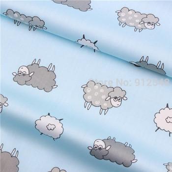 15122629 , 50cm*150cm Blue background cloth cute sheep cotton fabric,diy handmade patchwork cotton cloth home textile