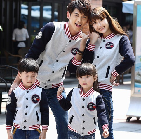 Winter Parent-child outfit Baseball uniform movement leisure clothing family package Korea style free shipping(China (Mainland))