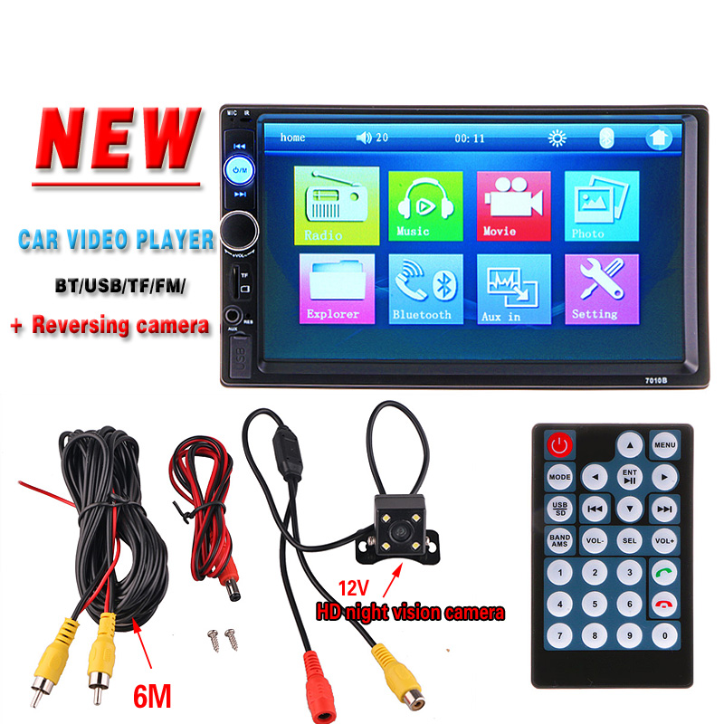 "2 DIN 7"" Car Radio Player HD Rear View Camera Bluetooth Stereo FM MP3 MP4 MP5 Audio Video USB Auto Electronics autoradio charger(China (Mainland))"
