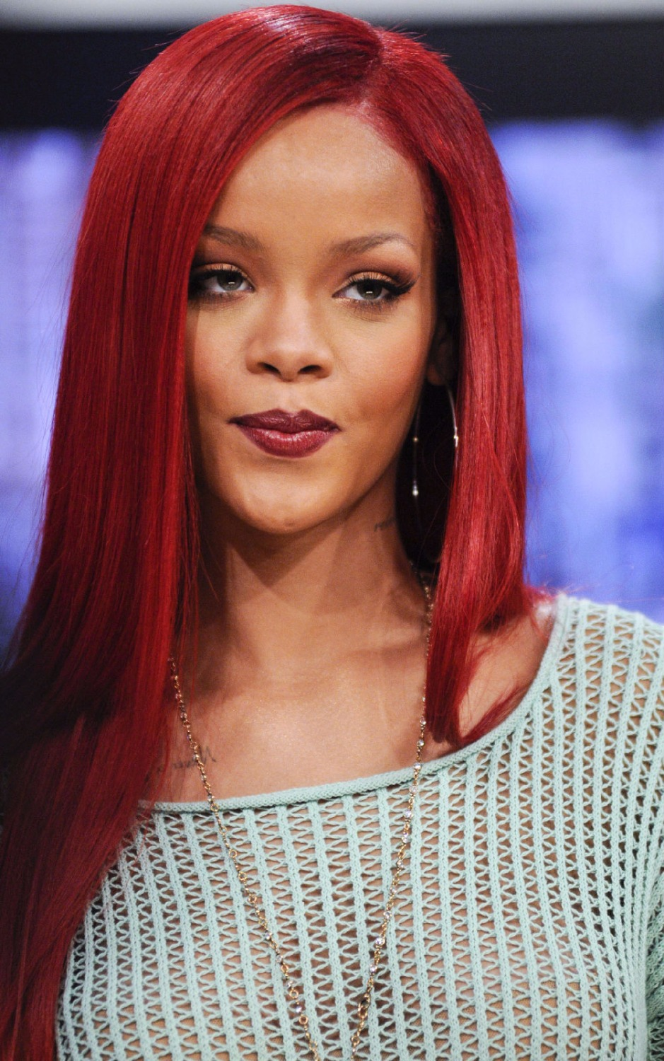 2015 Newest Submissive Long Nature Red Color Straight Rihanna Hairstyle Lace Front Synthetic Wig About 24 Inches<br><br>Aliexpress