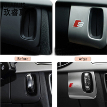 Interior car keyhole decorative frame cover trim stainless steel S/S line emblem/logo car 3D strip sticker for Audi A5 A4 09-15(China (Mainland))