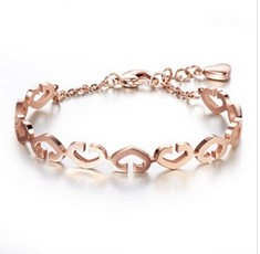 woman 14K rose gold plated bangle bracelet hollow heart design, fashion woman/girl jewelry - Cici's Friends store