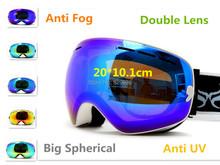 Outdoor Sports Ski Snowboard Doppel-objektiv Anti Fog UV Big Sphärische Professionelle Ski Glas Männer Multicolor Goggle Schnee(China (Mainland))