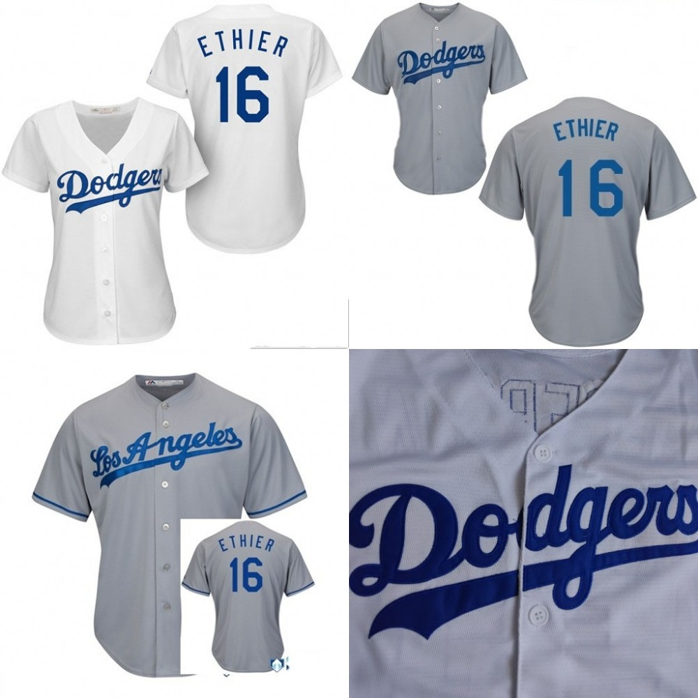 Los Angeles Dodgers Women's #16 Andre Ethier Jersey Cool Base Authentic Baseball Jerseys Embroidery Stitched Top Quality