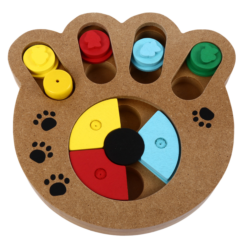 Wooden Paw Shape Pet Treat Food Hiding Puzzle IQ Training Interactive Educational Pet Bone paw Puzzle Toys for Small Dogs Cats(China (Mainland))