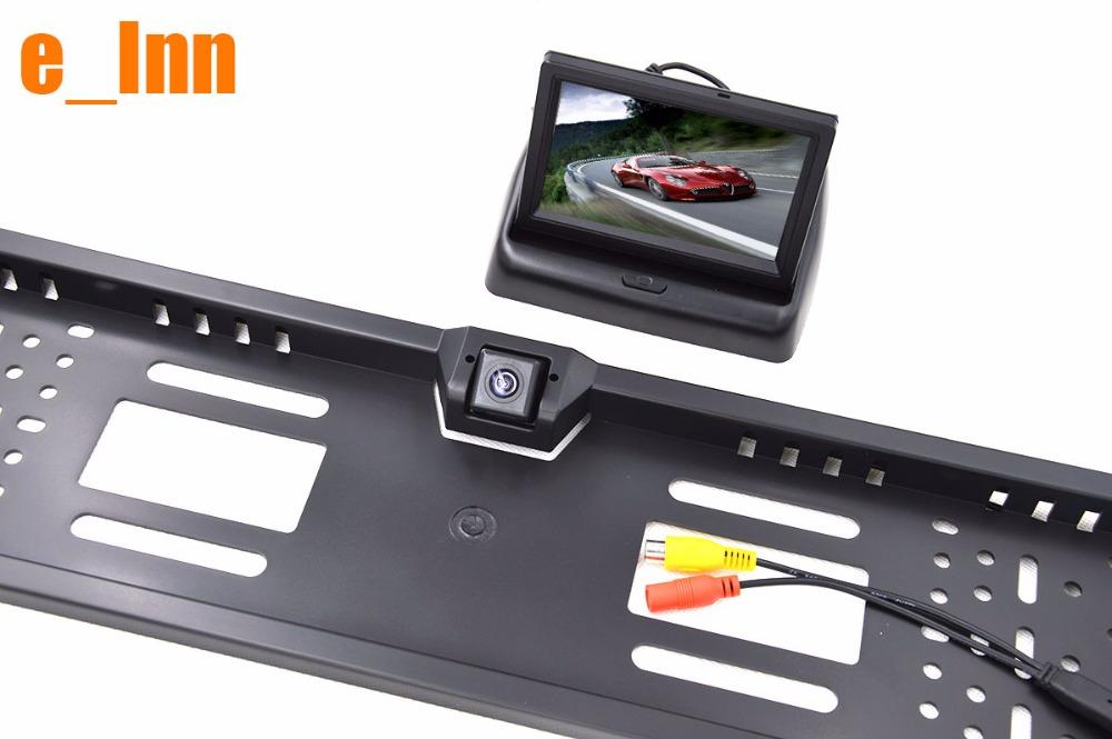"4.3"" LCD Color TFT Foldable Monitor with Car Rear View Camera Monitor Kit for EU European Car License Plate Frame Camera(China (Mainland))"