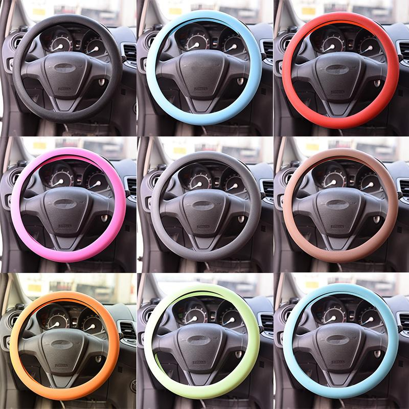 New Silicone Car Auto Steering Wheel Glove Covers Soft Universal Auto Supplies For Car Decorations 9Colors 1PC Hot Sale(China (Mainland))