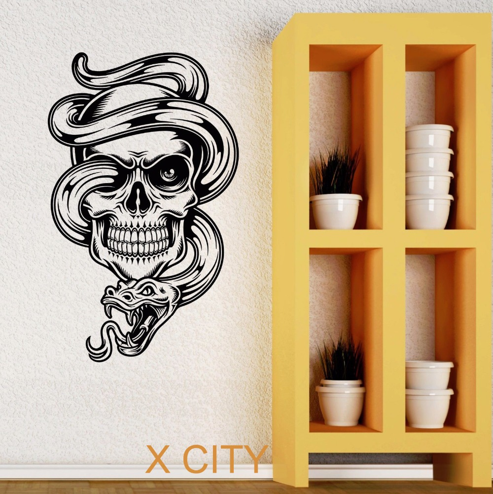 skull snake tattoo cool tribal wall art decal sticker removable vinyl transfer stencil mural. Black Bedroom Furniture Sets. Home Design Ideas
