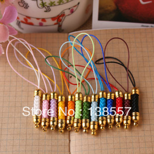 High quality 50pcs/lot mix colors copper Cell Phone Strap Lariat nylon with gold fashion mobile phone chain(China (Mainland))