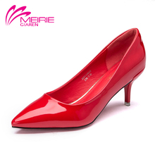 Aokang MeiRie 2016 Popular Fashion 4 Colors Vintage Pu Leather Red/Black/White/Yellow Women Red Buttom High Heel Women's Pumps