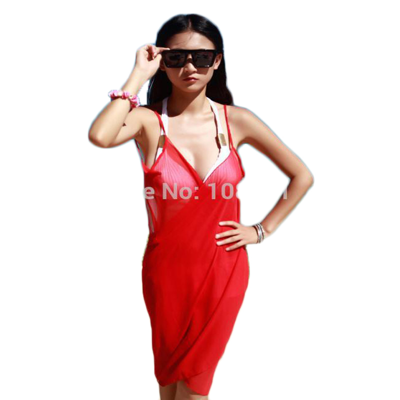 summer dress spaghetti strap scarft chiffon covers solid color beach cover scarf - Fashion World's store