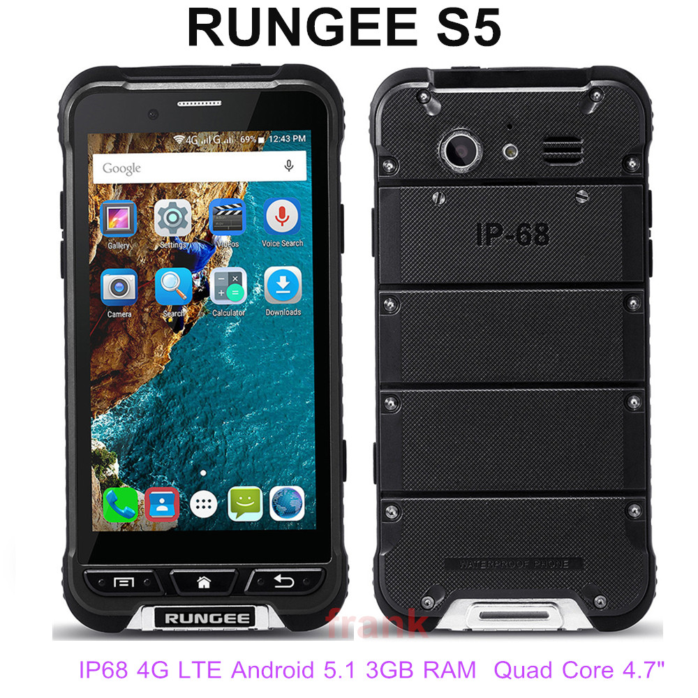 "Original 4G LTE RunGee S5 IP68 Waterproof Phone 4.7"" 3GB RAM 32GB ROM 8MP Quad Core NFC GPS smartphone Dual SIM Thin cellphone(China (Mainland))"