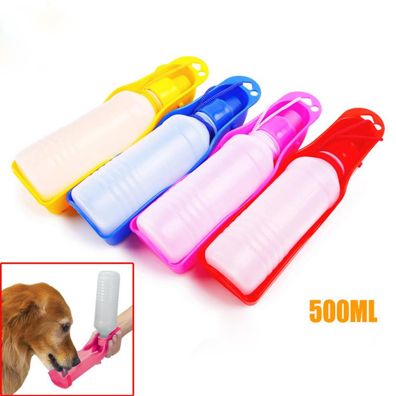 500ML Hot Portable Pet Cat Dog Feeding Bottle Water Drinking Outdoor Travelling Muticolor hanging supplies soft mouth bottles(China (Mainland))