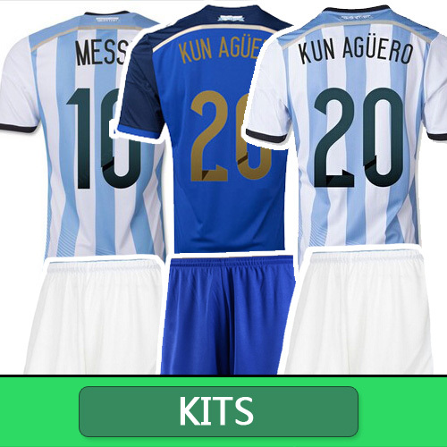 Argentina Jersey 2014 Home Away soccer jersey Argentina World Cup 2014 FANS VERSION MESSI TEVEZ Argentina Kits(China (Mainland))