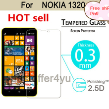 0.3mm 9H Tempered glass screen For Nokia Lumia 1320 2.5D Arc Edge 9H Hardness Ultra Thin Screen protector film with clean tools