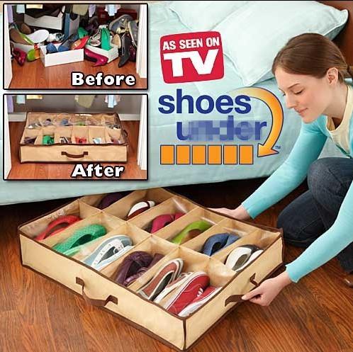 Closet Organizer Home Room New 12 Pairs Shoes Storage Box Nonwoven Fabric Dustproof Folding Shoe Holder(China (Mainland))