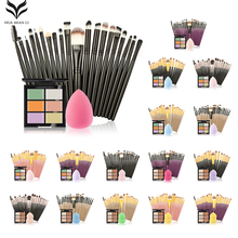 Buy HuaMianLi Brand Makeup Brush set Great 6 Color Concealer + 20 Makeup Brush + 1 Water Puff Cosmetic Powder Puff Beauty tools kit for $10.64 in AliExpress store