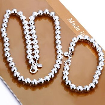 S0151 Women 925 Sterling Silver 10mm Hollow Bead Chain Bracelet&Necklace Set Fashion 925 Sterling Silver Jewelry Sets