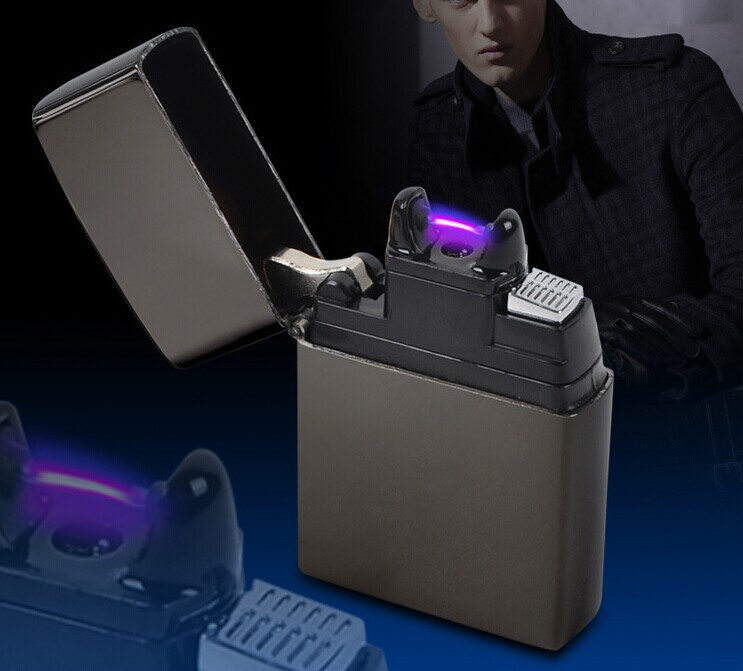 USB Rechargeable Flameless Electric Arc Windproof Cigar Cigarette Lighter Black(China (Mainland))